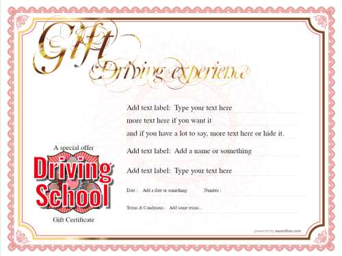printable driving school gift certificate template. add your own text and home or commercial print for free