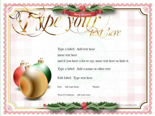 free traditional christmas border with baubles on a printable gift certificate with gold script heading