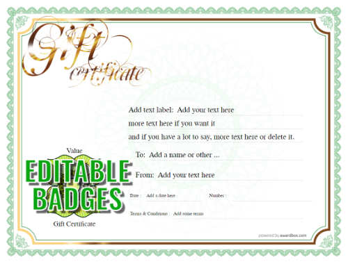 traditional border on white background printable gift certificate with serial number and swirling script heading for download
