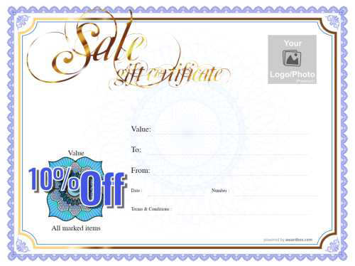 free money off business gift certificate template with logo and serial number with blue traditional border and printable