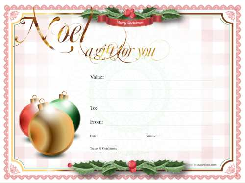 christmas ribbon and holly template design with logo for business gift certificate free and fully editable and printable