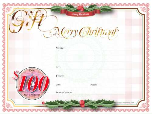 gift certificate template, traditional festive design with holly background to customize and print template with logo free for all use