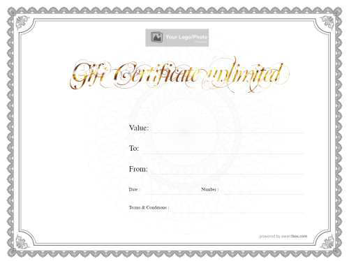 downloadable classic grey border on white background free blank gift template with gold swirling script heading