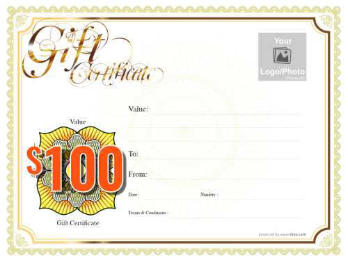 free customizable classic gift certificate with yellow and gold border printable template for download and yellow money badge