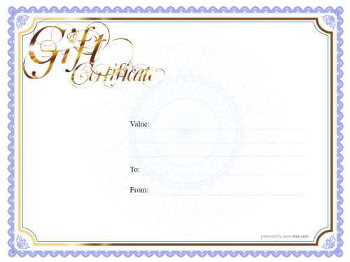 classic border blank gift certificate template for home printing or download with gold script title and watermark background