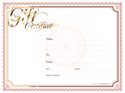 traditional style blank gift certificate template for print or download with red traditional border and facility for logos and photos