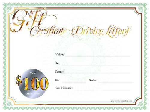 free printable gift voucher template for driving lessons with fillable text on a classic green border with white background