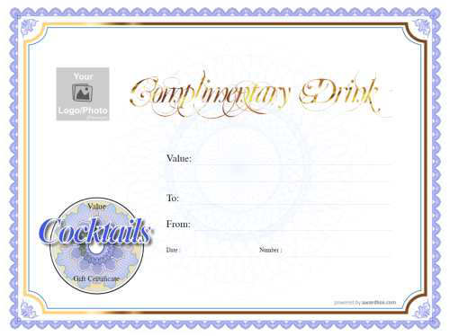 free restaurant gift certificate template customizable for print watermarked background with traditional blue and gold border