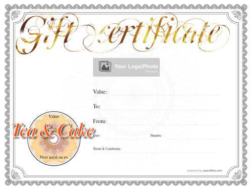 elegant gold foil afternoon tea gift certificate template fully ediatble with fillable badges and suitable for home printing