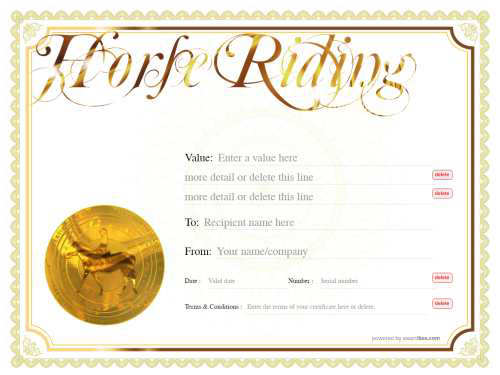 free printable horse riding lessons gift certificate template on yelo bordered watermarked background with gold medalion