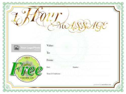 printable foot massage gift certificate template with traditional green and gold border for customizing and download