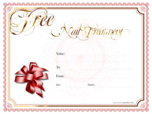 nail salon gift certificate template free printable and editable with serial number and swirly gold text with ribbon motif