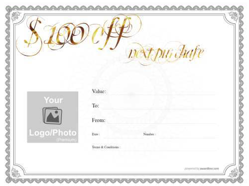traditional grey bordered free gift certificate editable template on white background with watermark and swirly gold title