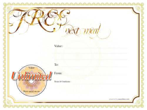 simple free classic yellow border style gift voucher template for restaurant business for print and download with fillable text