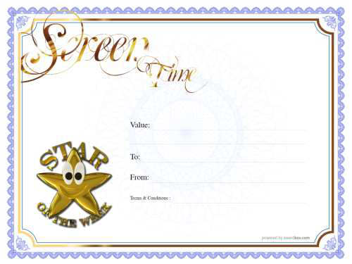 fun free screen time gift certificate fully editable and printable with star badge on white background with gold border