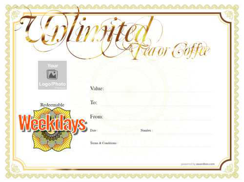 classic design free printable coffee shop gift certificate template with gold script title on yellow background customizable