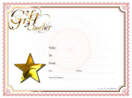 free classroom customizable gift voucher template with gold script writing on red and gold bordered background