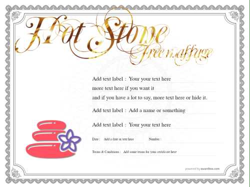 free hot stone massage gift certificate template with script gold editable text and classic border for print or download