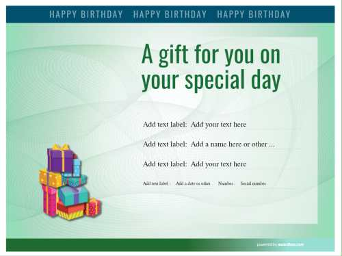 green background certificate template for birthday gifts to edit all text and free to download at home or comercially