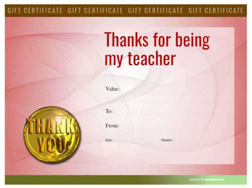 modern heavily colored design teacher appreciation gift certificate with fully editable template for home printing