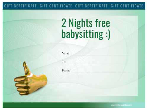 modern green watermarked baby sitting voucher that is printable and free for download and fully customizable