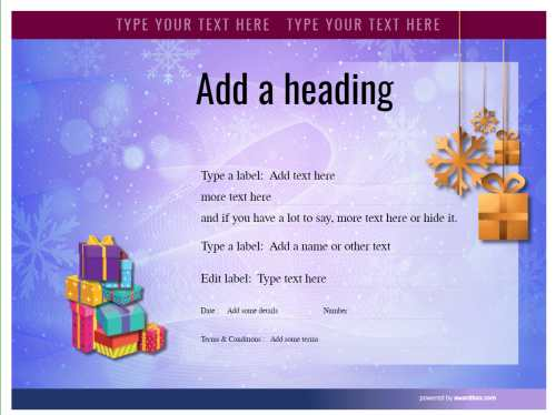 free christmas pattern blue background customizable gift certificate template with fillable editable badge for print