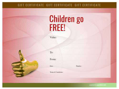 children go free restaurant business gift certificate fully editable template for download and printing with red watermark
