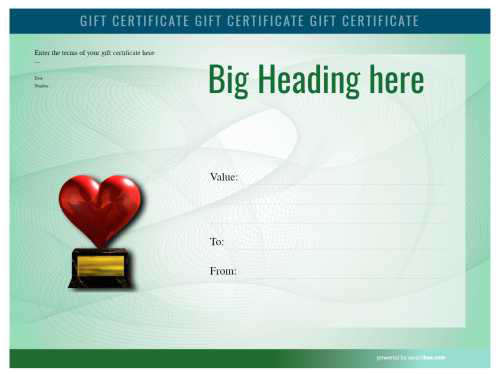 free gift certificate modern financial swirling green background watermark printable template with red heart badge