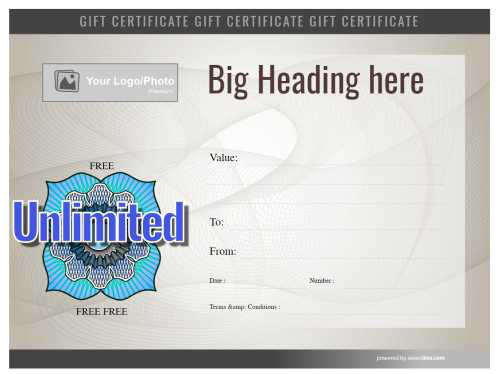 printable gift certificate template with serial number and swirly watermark pattern brown background and editable badge