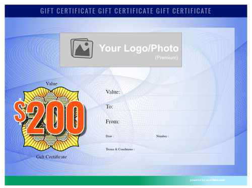 free swirl pattern edge to edge blue background customizable gift certificate template with fillable currency badge for print