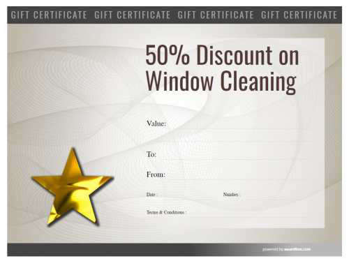 free window cleaning gift certificate template for business with logo and serial number for printing with modern background