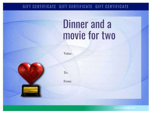 modern green design dinner and a movie gift certificate fillable template example for home printing with logo