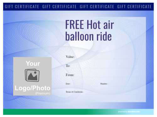 fun hot air balloon free gift certificate template with serial number and photo with a blue swirly background for printing