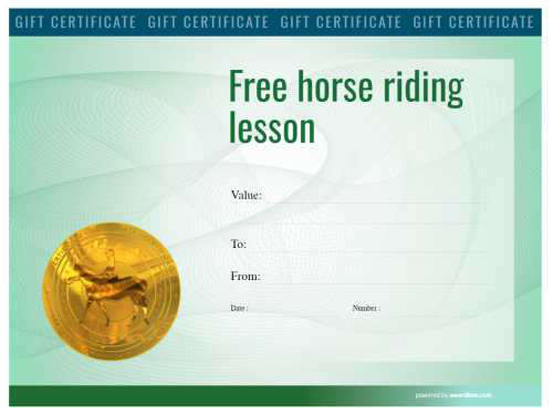 example of printable free horse riding lessons gift certificate template with a heavily colored watermarked background