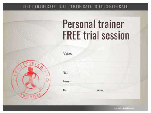 gift certificate for personal training template download fully customizable on a modern background and fillable badges