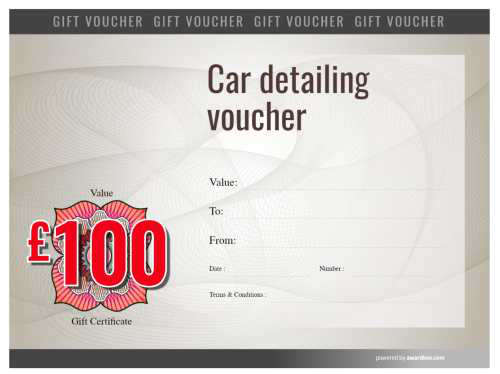 watermarked design free auto detailing gift voucher template with logo and serial number for printing or download