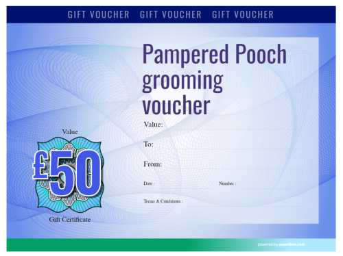 free modern style blue dog grooming gift voucher template with serial number and logo for printing and download