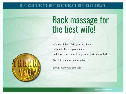 thank you gift certificate template for home massage with green security background for text editing and printable download