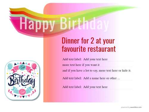 customizable dinner for two, birthday gift certificate template for printing or sharing on social media with decorative images