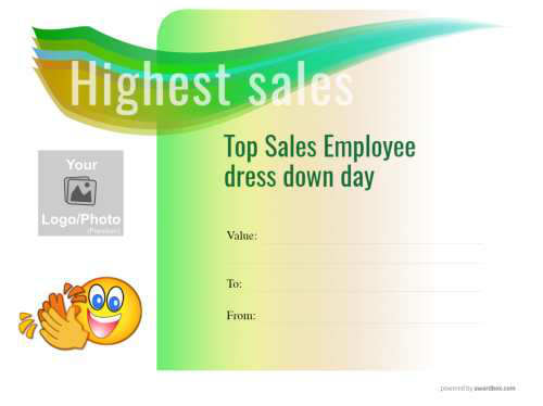 colorful green to yellow graduation in modern design free employee of the month editable gift certificate template for printing