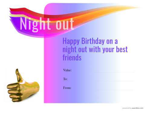 free restaurant night out customizable birthday coupon template for home printing on a purple graduated modern background