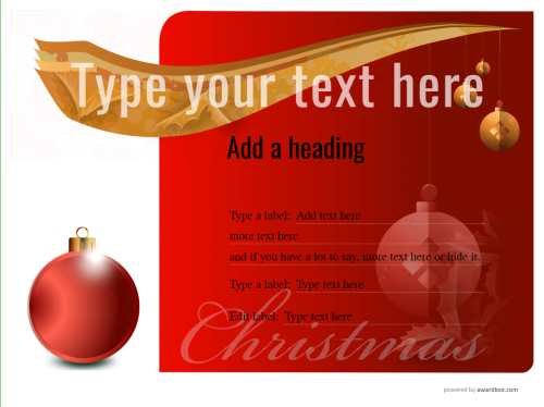 printable vignette christmas background and gold swish free coupon template with editable bauble roundal