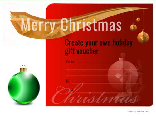free classy design christmas gift template with rich red vignette and green bauble printable and customizable
