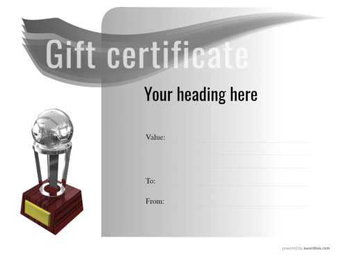 blank gift certificate template with sport badge fully customizable printable and on a modern black and white design