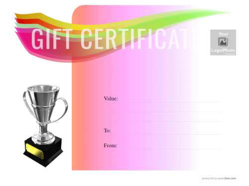 clean customizable design gift certificate editable with graduated multi color background purple to blue with trophy