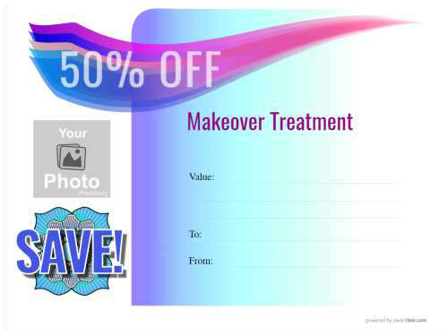 free modern style editable spa and salon voucher template with graduated blue background for print and download