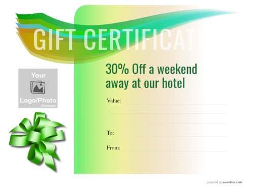 printable weekend getaway gift certificate template for commercial use with fillable text on a green vignette design