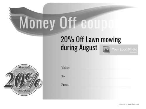 simple fillable free lawn mowing gift coupon that is printable at home with this black and white clean style background design