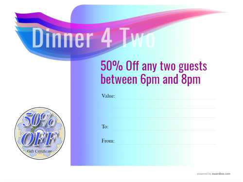 free gift certificate template for dinner for two at a restaurant fully customizable on a blue graduated background for print