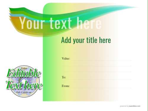 edit yourself spa gift certificate template, green graduated background with fillable badge for free download and print